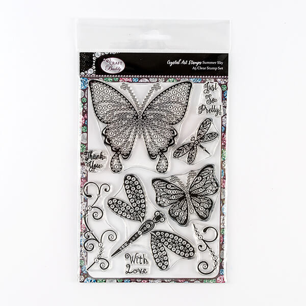 Craft Buddy Crystal Art stamps Summer Sky A5 clear stamp set CCST2