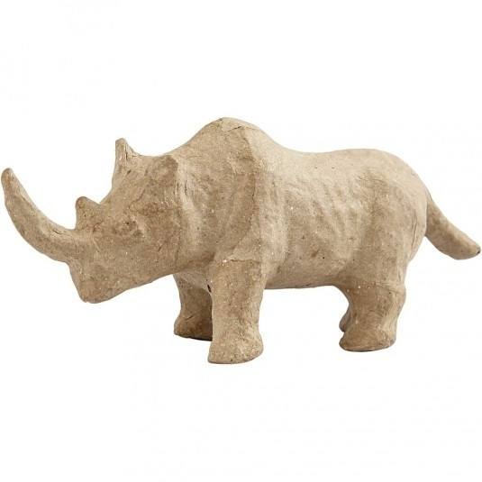 Handgemaakte neushoorn van papier-mâché 18 x 3,5 x 7,7 cm