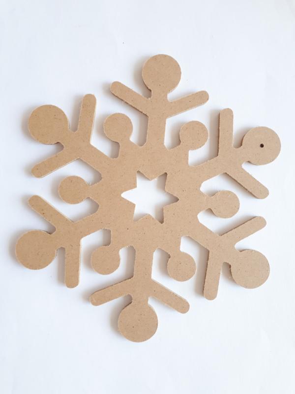 MDF sneeuwvlok 1 stuk Ø 22 cm, dikte 5 mm