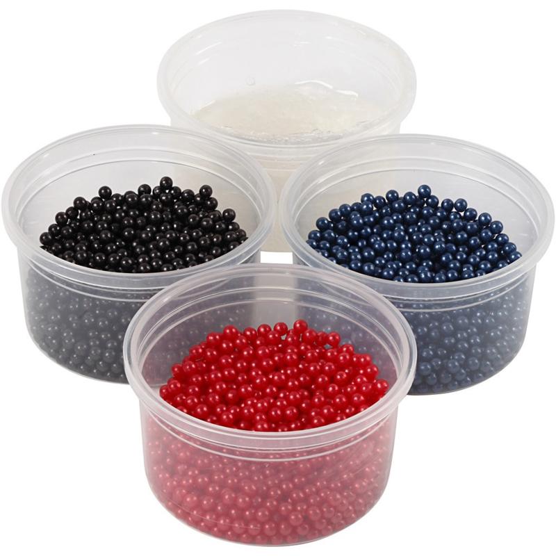 Pearl Clay 3 x 25 gram pearls blauw, rood, zwart en 38 gram gel