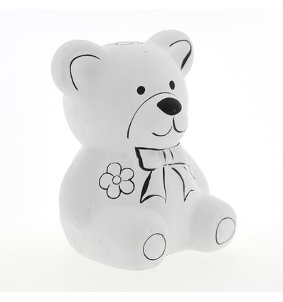 Pincello spaarpot beer van wit keramiek 9 x 10 x 13 cm