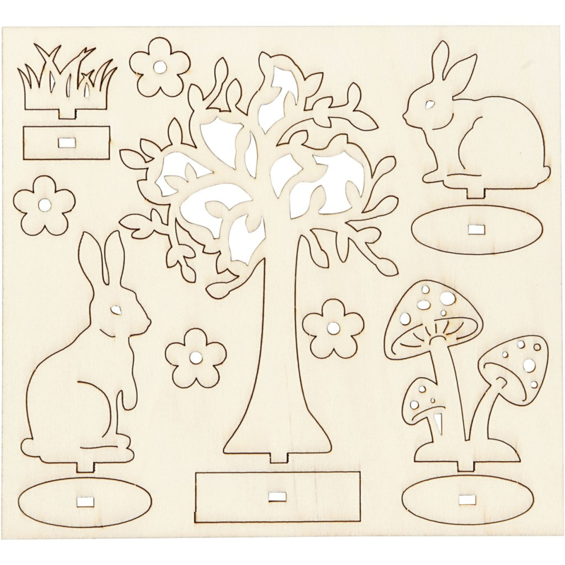 DIY houten (triplex) figuren boom en konijnen 16,9 x 15,4 cm dikte 2 mm 57942