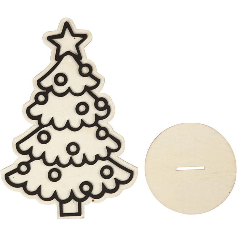 Made of Wood houten Kerstboom met standaard 13,5 x 19,8 cm dikte 3 mm