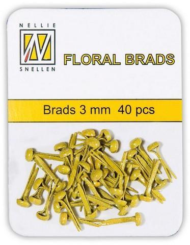 Nellie Snellen glitter brads (splitpen) FLP-GB 009 yellow (geel) 3 mm 40 stuks