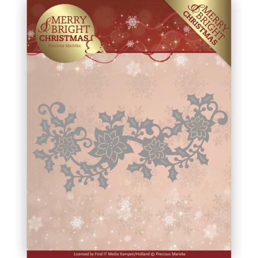 Precious Marieke Merry and Bright Christmas die poinsettia border PM10129
