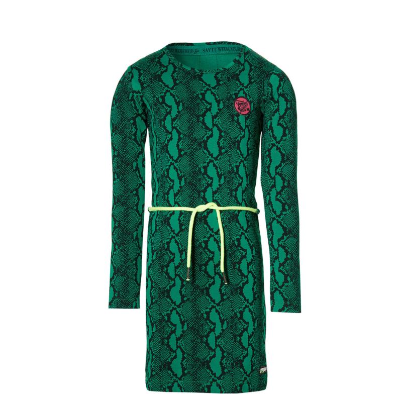 QUAPI Daantje dress green snake maat 98/104 ( herfst/winter 2020/2021