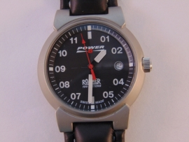 Roamer Power 8 stalen herenhorloge leren band