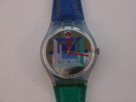Kunststof Swatch horloge met leren band