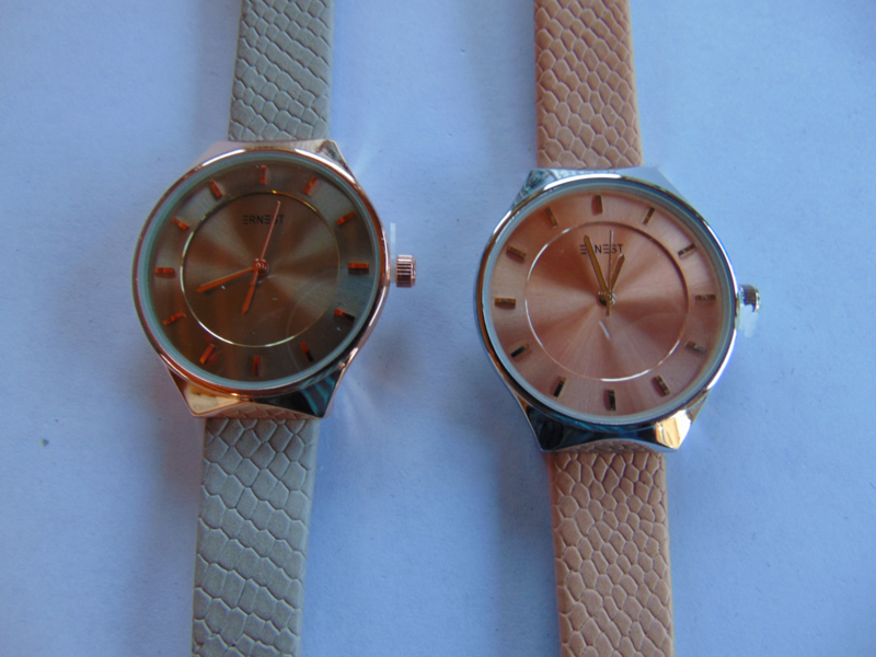 Chroom/ Rosa double Ernest dameshorloge