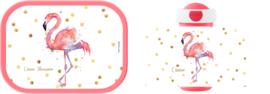 Mepal broodtrommel en drinkbeker Flamingo aquarel wit, roze of mint