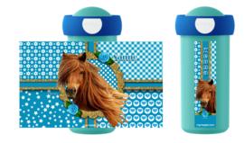 Drinkbeker paard Sara turquoise/goud