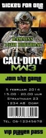 Kinderfeest uitnodiging MW3 Call of Duty Ticket for One, setje van 5 stuks