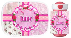 Set Mepal broodtrommel en drinkbeker Jamy pink