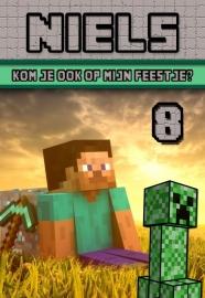 Kinderfeest uitnodiging Minecraft, setje van 6 stuks