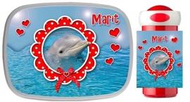 Set broodtrommel en drinkbeker Dolfijn voor Marit!