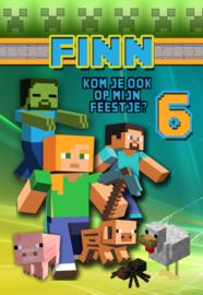 Kinderfeest uitnodiging Minecraft colours, setje van 5 stuks