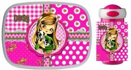 Set Mepal broodtrommel en drinkbeker Daisy pink