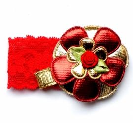Kerst elastisch armbandje bloem rood/goud