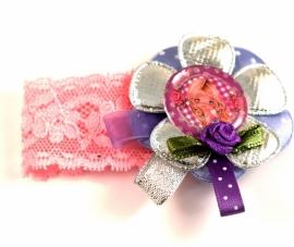 Elastisch armbandje kant roze Kylie zilver/paars