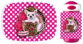 Set Mepal broodtrommel en drinkbeker Chihuahua in teacup polkadot