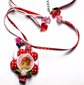 SPECIAL MADE ketting Krullenbol pink, ketting extra special, zie foto`s!