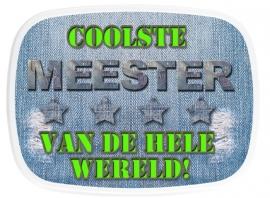 Mepal fruittrommeltje Coolste Meester denim/lime