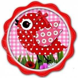Strijkapplicatie Birdie pink