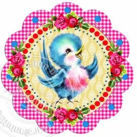 Strijkapplicatie Vintage Birdy colors