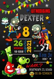 Kinderfeest uitnodiging Plants vs Zombies,  setje van 6 stuks