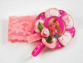 Elastisch armbandje kant Kylie roze/fuchsia