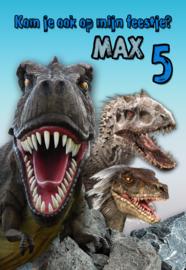 Kinderfeest uitnodiging Dino's, setje van 5 stuks
