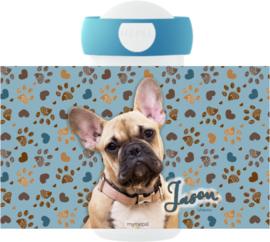 Mepal broodtrommel en drinkbeker Frenchy blue (Franse Bulldog)