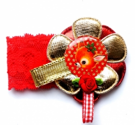 Kerst elastisch armbandje Vintage deer rood/goud