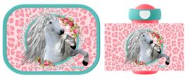 Mepal broodtrommel en drinkbeker White Horse Pink