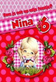 Kinderfeest uitnodiging Nina, setje van 6 stuks