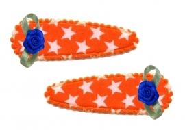Koninklijke Haarspeldjes oranje ster met blauw roosje