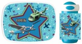 Set Mepal broodtrommel en drinkbeker Retro Airplanes