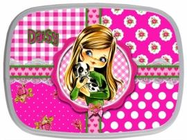 Broodtrommel Daisy pink