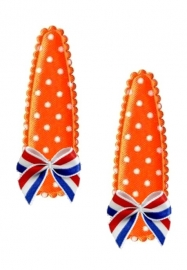 Koninklijke Haarspeldjes oranje stip met Hollands strikje