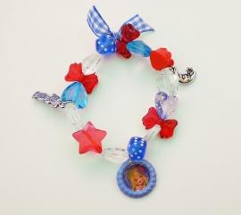 Kralenarmbandje elastisch Flowerlady blauw/rood