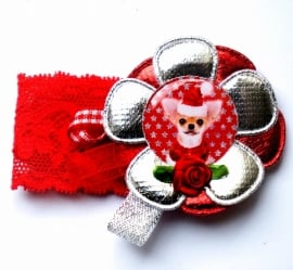 Kerst elastisch armband Chihuahua rood/zilver