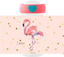 Mepal drinkbeker Flamingo aquarel wit, roze of mint