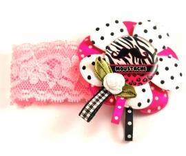 Elastisch armbandje kant roze Moustache