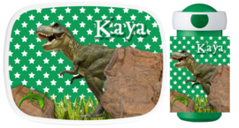 Set broodtrommel en drinkbeker Dino groen