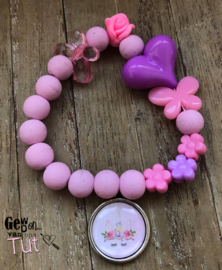 Armbandje unicorn pink lila