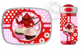 NIEUW!! Set broodtrommel en Drinkbeker Teaparty