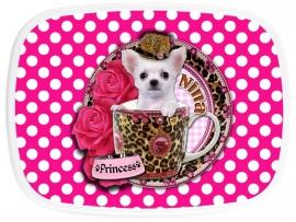 broodtrommel Chihuahua in teacup polkadot