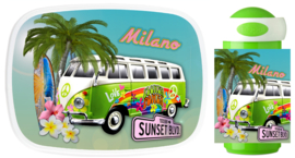 Set broodtrommel en drinkbeker VW Bus Hawai Hippie