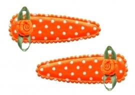 Koninklijke Haarspeldjes oranje stip met roosje