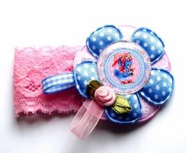Elastisch armbandje kant roze Girly Birdy